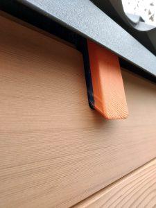 uitsparing dakspant in gevelbekleding tiny house